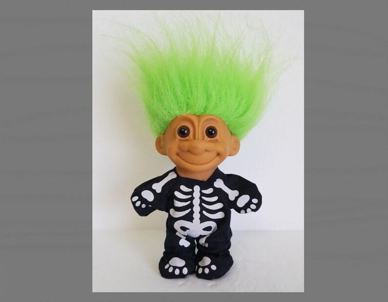SKELETON TROLL Russ HALLOWEEN Voodoo NEW in Bag ORANGE HAIR Bones X RAY