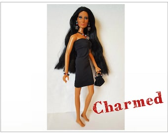 CHER Doll Clothes - CHARMED Black Dress, hand-beaded Purse and Jewelry - fits vintage Mego Farrah, Tennille - Custom Fashion - by dolls4emma