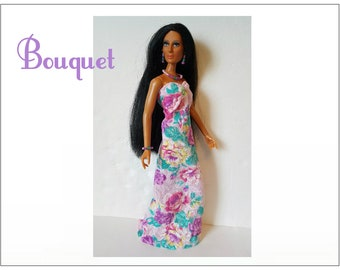 CHER Doll Clothes - BOUQUET Gown and Jewelry - fits vintage Mego Farrah, Tennille - Custom Fashion - by dolls4emma