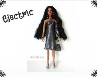 CHER Doll Clothes - ELECTRIC silver retro Dress, hand-beaded Purse and Jewelry - fits vintage Mego dolls - Custom Fashion - by dolls4emma