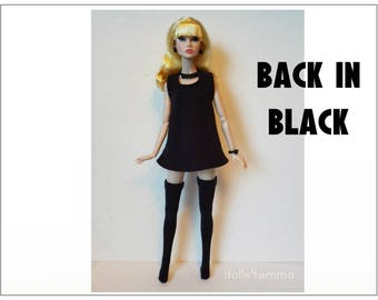 Poppy Parker Doll Clothes - Goth Black Dress, Stockings and Jewelry Set - Custom Fashion - by dolls4emma