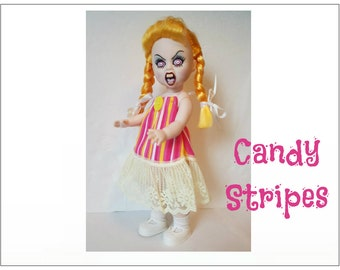 Living Dead Doll Clothes - CANDY STRIPES - OOAK Dress - Handmade Custom Fashion by dolls4emma