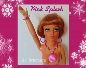 """Tiffany Taylor Doll Jewelry - PINK SPLASH -  Unique Necklace, Earrings and Bracelet for 19"""" Ideal  - by dolls4emma"""