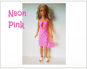 Tiffany Taylor 19 in. Doll Clothes - Pink Peek-a-boo Dress, Purse and Jewelry - Handmade Fashion - by dolls4emma