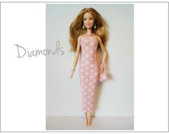 TALL Barbie Fashionistas Doll Clothes - DIAMONDS Dress, Purse and Jewelry - Handmade Fashion by dolls4emma