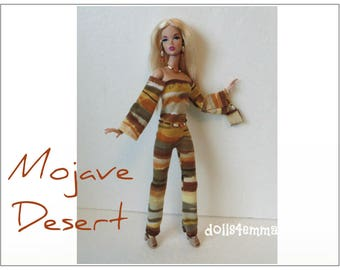 Poppy Parker Doll Clothes - MOJAVE DESERT Jumpsuit, Belt, Purse and Jewelry Set - Custom Fashion - by dolls4emma
