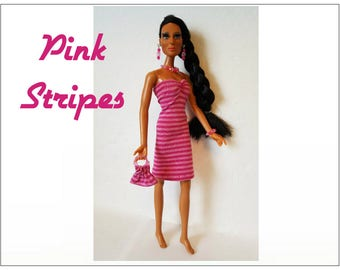 CHER Doll Clothes - PINK STRIPES Dress, hand-beaded Purse and Jewelry - fits vintage Mego Farrah, Tennille - Custom Fashion - by dolls4emma