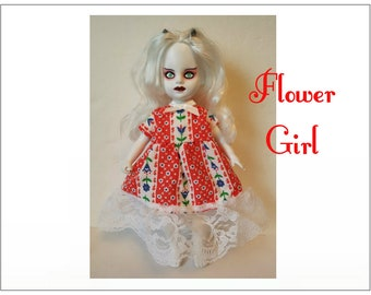 Living Dead Doll Clothes - FLOWER GIRL- Baby-doll Dress - Handmade Custom Fashion by dolls4emma