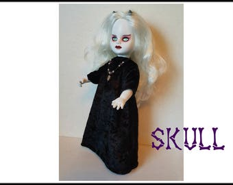 Living Dead Doll Clothes - SKULL- Goth Gown and Necklace - Handmade Custom Fashion by dolls4emma