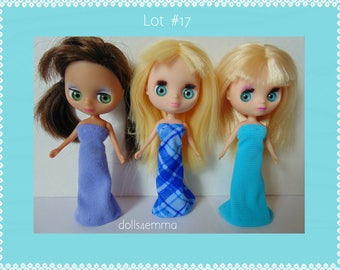 DOLL CLOTHES Lot of 3 Blue Gowns handmade for Littlest Pet Shop BLYTHE Petite Lot #17