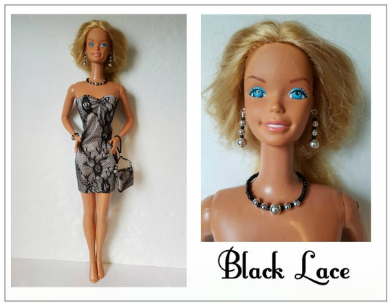 Supersize 18 In Barbie Doll Clothes Black Lace Dress Etsy