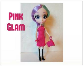 "Shibajuku Mini 6"" Doll Clothes - PINK GLAM Dress, Purse  and Jewelry - Handmade Fashion by dolls4emma"