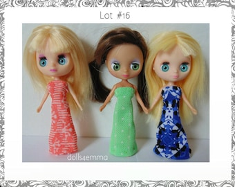 DOLL CLOTHES Lot of 3 Colourful Gowns handmade for Littlest Pet Shop BLYTHE Petite Lot #16