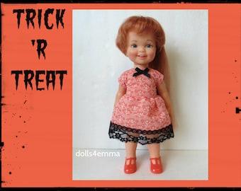 Vintage Ideal CINNAMON Doll CLOTHES - Halloween Baby-doll Dress - Handmade Custom Fashion - by dolls4emma