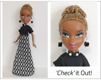 BRATZ Doll Clothes - CHECK It Out! - Black Top, Long Check Skirt and Jewelry Set - Custom Handmade Fashion - by dolls4emma