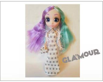 "Shibajuku Mini 6"" Doll Clothes - GLAMOUR Boa, Dress, Purse and Jewelry - Handmade Fashion by dolls4emma"