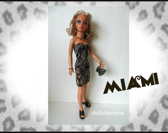 Tiffany Taylor Doll Clothes - MIAMI - Sexy Dress, Purse and Jewelry - Handmade Fashion - by dolls4emma