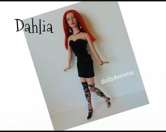 "Tyler Doll Clothes - DAHLIA Sexy Black Dress, stockings & Jewelry - Custom Fashion fits 16"" Tonner dolls - by dolls4emma"