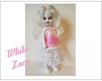 Living Dead Doll Clothes - WHITE LACE Dress - Handmade Custom Fashion by dolls4emma