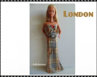 SUPERSIZE 18 in  BARBIE Doll Clothes - LONDON Plaid Gown and Jewelry - by dolls4emma