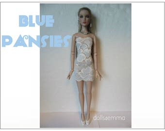 """Cami & Antoinette Doll Clothes - BLUE PANSIES Lace Dress and Jewelry Set fits 16"""" Tonner - Custom Fashion - by dolls4emma"""