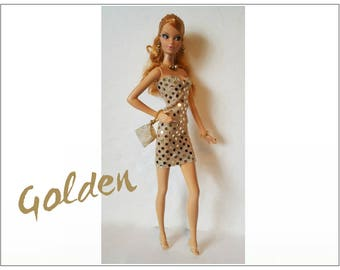 Model Muse Barbie Doll Clothes Sexy Gold Dress, hand-beaded Purse and Jewelry Set - Custom Fashion - by dolls4emma