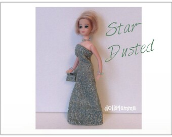 Dawn Doll Clothes - STAR-DUSTED Metallic Shimmer Gown, Hand-beaded Purse and Jewelry - Custom Fashion - by dolls4emma