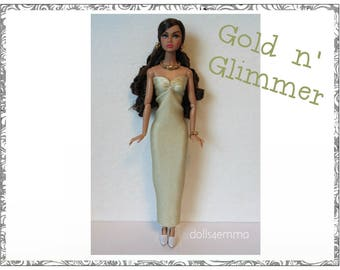 Poppy Parker Doll Clothes - GOLD n' GLIMMER Gown and Jewelry Set - Custom Fashion - by dolls4emma