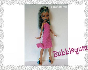 Monster High Nefera Doll Clothes BUBBLEGUM - pink Dress, Purse and Jewelry Handmade Fashion - by dolls4emma