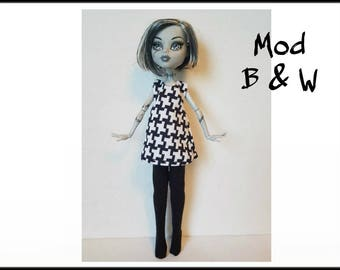 Monster High Doll Clothes MOD B&W Dress and black Leotards Handmade Fashion - by dolls4emma