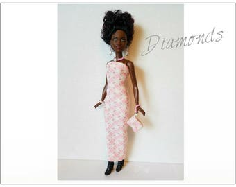 PETITE Barbie Fashionistas Doll Clothes - DIAMONDS Dress, Purse & Jewelry - Handmade Fashion by dolls4emma