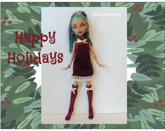 NEFERA Monster High Doll Clothes - Holiday Dress, Socks and Jewelry - Custom Fashion by dolls4emma
