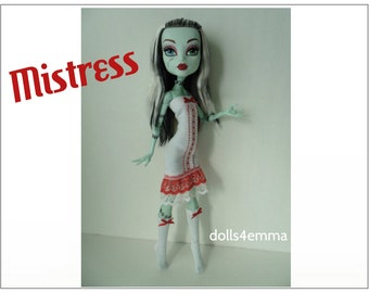 "Monster High 17"" Doll Clothes - Sexy MISTRESS Dress + Socks - Handmade custom fashion by dolls4emma"