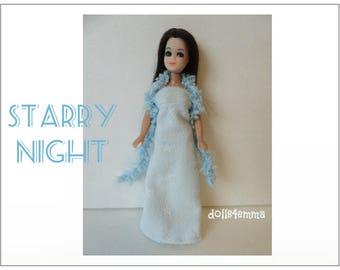 Dawn Doll Clothes - STARRY NIGHT Blue Boa and Gown - Custom Fashion by dolls4emma