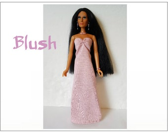 CHER Doll Clothes - BLUSH Gown and Jewelry - fits vintage Mego Farrah, Tennille - Custom Fashion - by dolls4emma
