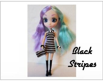 "Shibajuku Mini 6"" Doll Clothes - BLACK STRIPES Dress, Purse  and Jewelry - Handmade Fashion by dolls4emma"