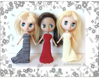 DOLL CLOTHES Lot of 3 Gowns handmade for Littlest Pet Shop BLYTHE Petite Lot #7