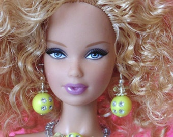Barbie Doll JEWELRY - Yellow Sunny Diamonds Jewelry Set fits Model Muse and more - by dolls4emma