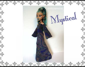 Monster High Nefera Doll Clothes MYSTICAL goth medieval Gown and Jewelry Handmade Fashion - by dolls4emma