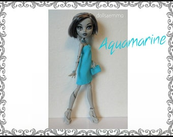 Monster High Doll Clothes - AQUAMARINE Dress, Purse and Jewelry Set - Handmade Fashion by dolls4emma