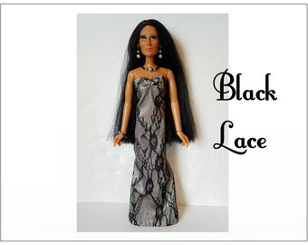 CHER Doll Clothes - BLACK LACE Gown and Jewelry - fits vintage Mego Farrah, Tennille - Custom Fashion - by dolls4emma