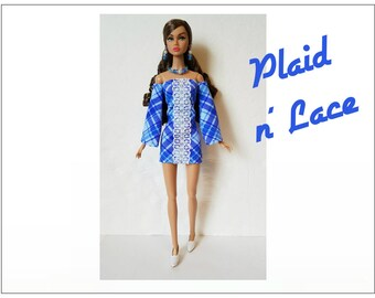 Poppy Parker Doll Clothes - PLAID 'N LACE Retro Dress and Jewelry Set - Custom Fashion - by dolls4emma