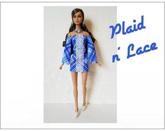 Poppy Parker Doll Clothes - PLAID 'N LACE Retro Dress and Jewelry Set - Custom Fashion - by dolls4emma
