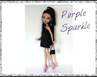 Monster High Doll Clothes - PURPLE SPARKLE goth  Dress, Purse and Jewelry Set - Handmade Fashion by dolls4emma