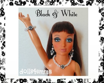 """Tiffany Taylor Doll Jewelry - BLACK & WHITE -  Flowers and Pearls Necklace, Earrings and Bracelet for 19"""" Ideal  - by dolls4emma"""