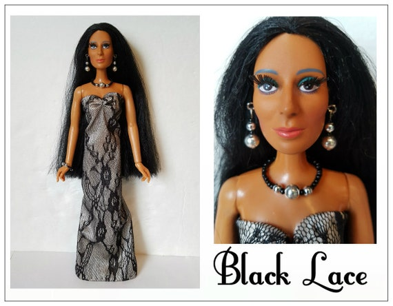 Cher Doll Clothes Black Lace Gown And Jewelry Fits Vintage Etsy