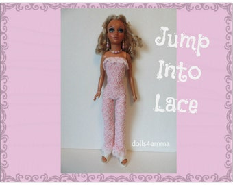 Tiffany Taylor Doll Clothes - Jump Into Lace - Jumpsuit and Jewelry - Handmade Fashion - by dolls4emma