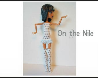 Monster High Doll Clothes ON THE NILE Dress and Stockings Handmade Fashion - by dolls4emma
