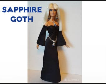 OOAK Model Muse Barbie Doll Clothes SAPPHIRE Goth / Medieval Gown, Cross Belt and Jewelry Set - Custom Fashion - by dolls4emma