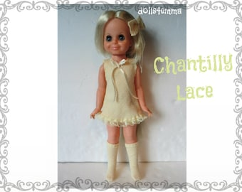 Vintage Ideal VELVET Doll CLOTHES - Chantilly Lace Dress, Boots and Hair-Bow- Handmade Custom Fashion - by dolls4emma